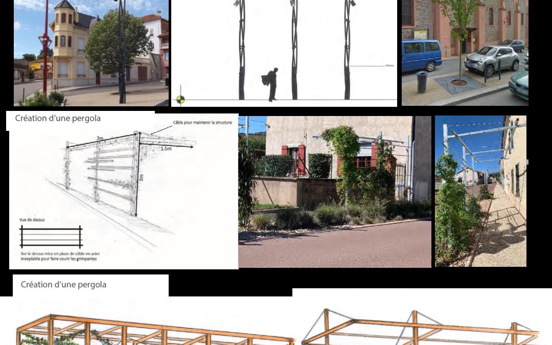 Conception de mobilier urbain : mâts d'éclairage, grilles d'arbre, Pergolas ….