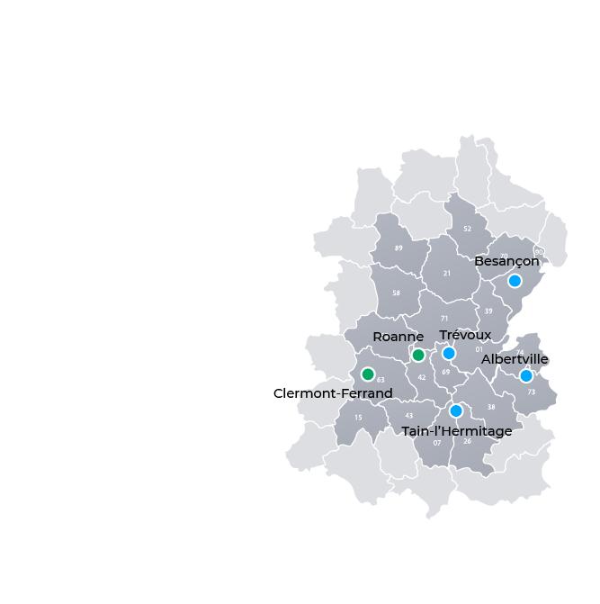 Points d'implantation du Groupe Réalités